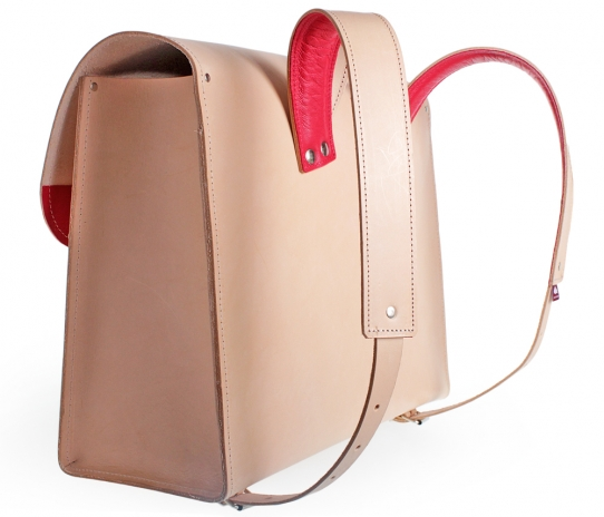 Satchel from natural leather
