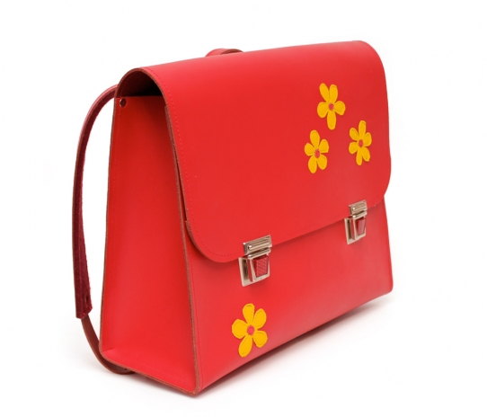 Red Satchel + Inside Pockets + Application