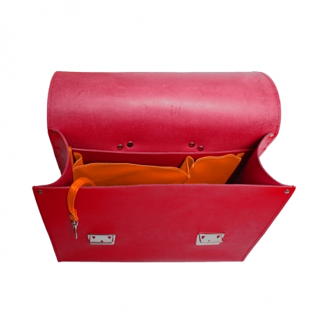 Red Satchel + Inside Pockets