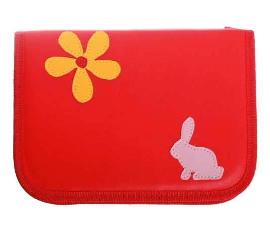 Pencil case with rabbit and flower