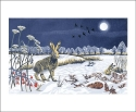 Card Hare in Moonlight